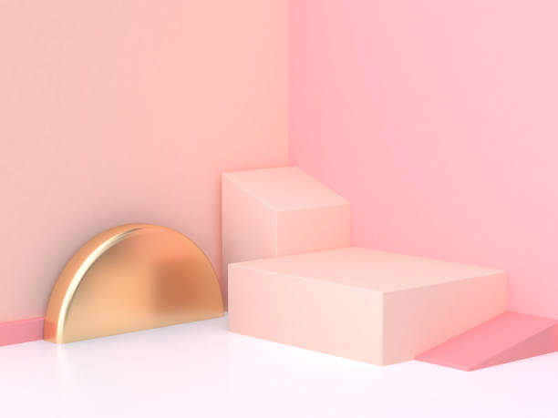 rose crème mur rendu 3d de la scène abstraite géométrique - demi cercle photos et images de collection