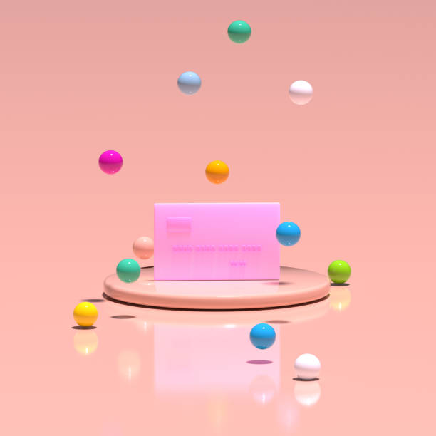 A pink credit card stands on a platform among flying multicolored balloons. Pastel living coral color. 3D render.