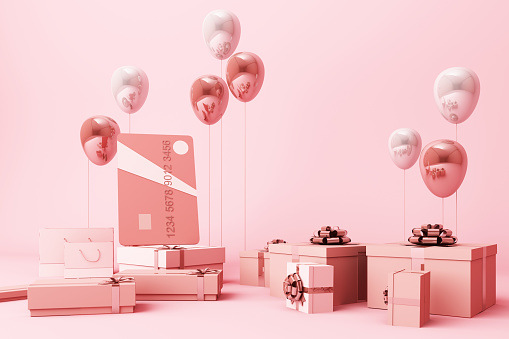 Pink credit card surrounding by a lot of giftboxs and balloons. 3d rendering