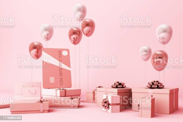 Pink credit card surrounding by a lot of giftboxs and balloons 3d picture id1178985265?b=1&k=6&m=1178985265&s=612x612&h=bwkw97dxqw9fyxffutoyf7uyhqixdfim9wilneo  pw=