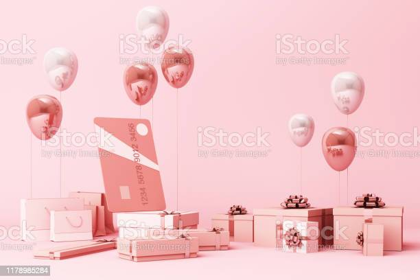 Pink credit card surrounding by a lot of giftboxs and balloons 3d picture id1178985284?b=1&k=6&m=1178985284&s=612x612&h=bztkdqa8dvuezuyusvmfxddq5m mqe4  sd7qmapswu=