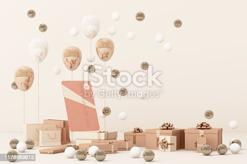 istock Pink credit card surrounding by a lot of giftboxs and balloons. 3d rendering 1178989613