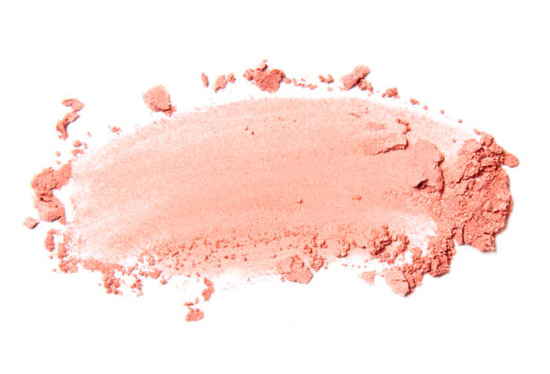 pink crumbled blush pink crumbled and scattered blush and eyeshadow brush stroke isolated on white background blusher make up stock pictures, royalty-free photos & images