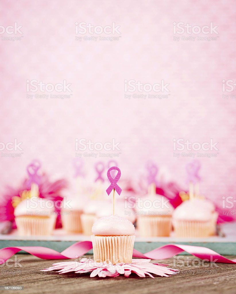 Pink Cupcake Decorated with Breast Cancer Awareness Ribbon royalty-free stock photo