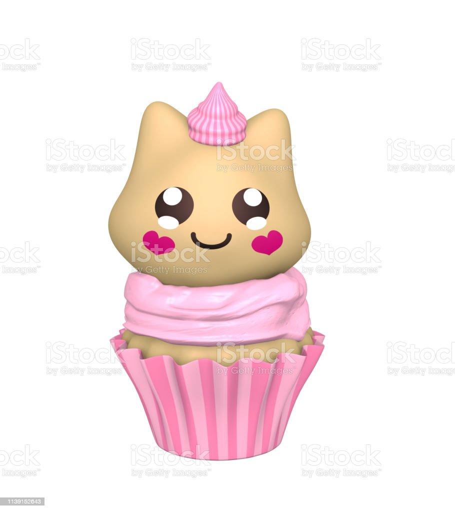 Rosafarbene Cupcake mit Kawaii-Stil. – Foto