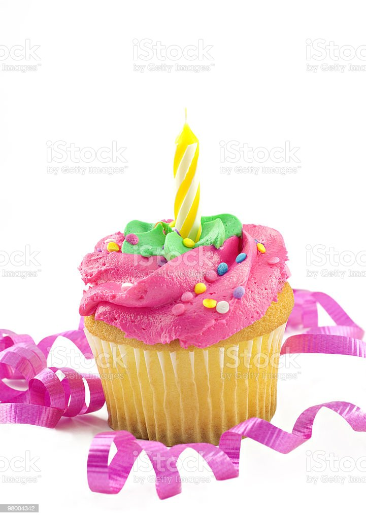 Pink Cupcake with One candle royalty free stockfoto