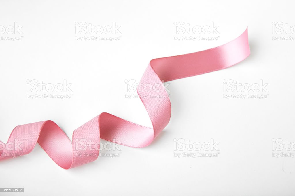 Pink curly ribbon stock photo