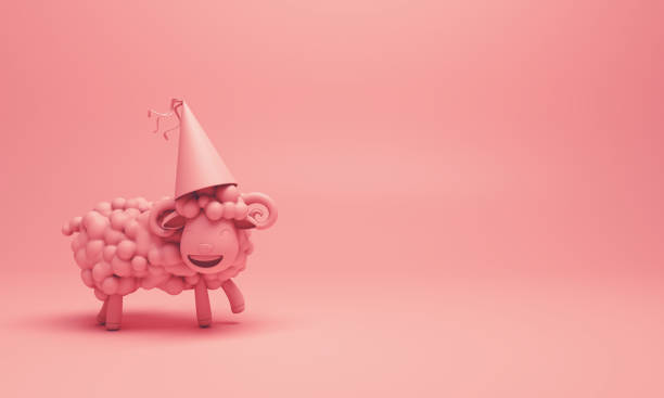 Pink cute cartoon sheep smile wearing party hat. Design creative concept of islamic celebration eid adha or happy birthday. stock photo