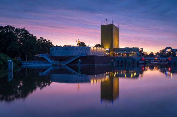 Pink dawn in Groningen stock photo