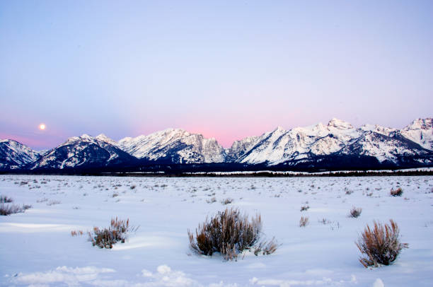 Roze dageraad hemel over de Tetons foto