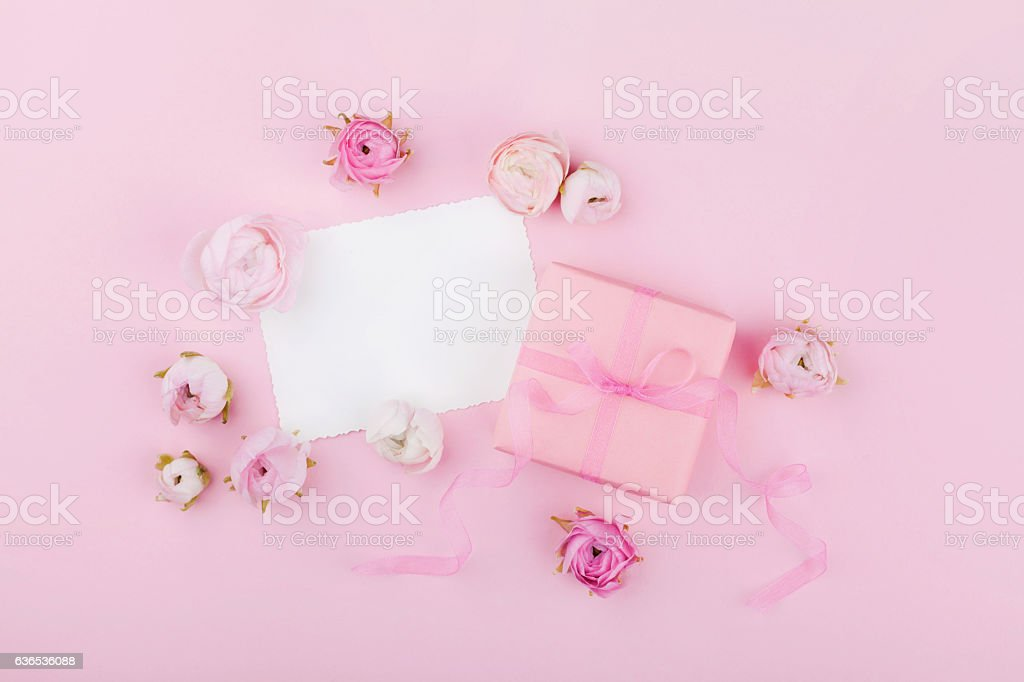 Pink desk for wedding mockup or greeting card. Flat lay. stock photo