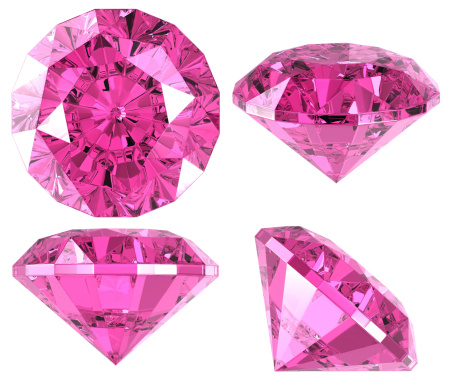 Pink diamond (4 positions). Isolated on white. 3D render.