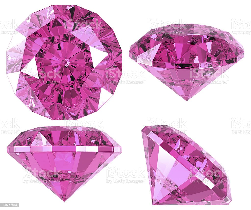 Pink diamond (4 positions) stock photo
