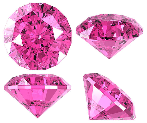 pink diamond (4 positions) - edelsteen stockfoto's en -beelden