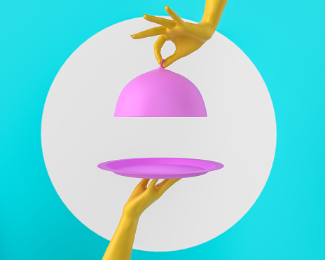 istock Pink Dish with lid holding hands isolated, opened restaurant cloche, launch time promo banner concept. 3d rendering 1140830254