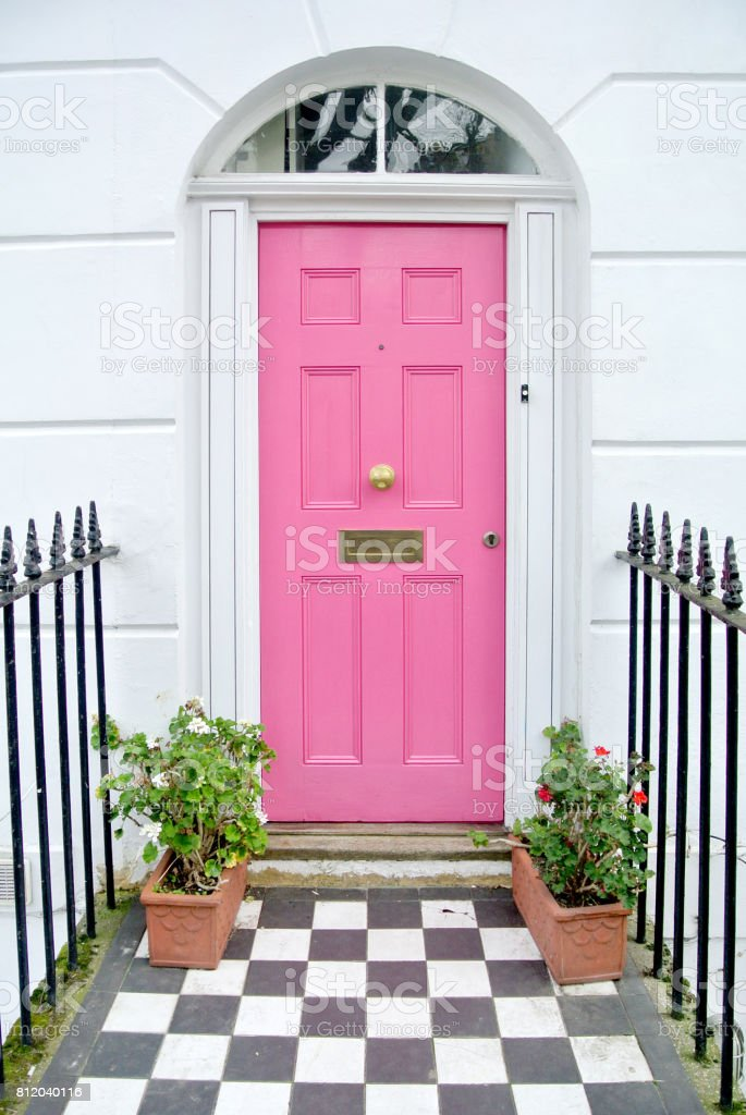 pink door stock photo