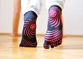 istock Pink dotted yoga socks 533725237