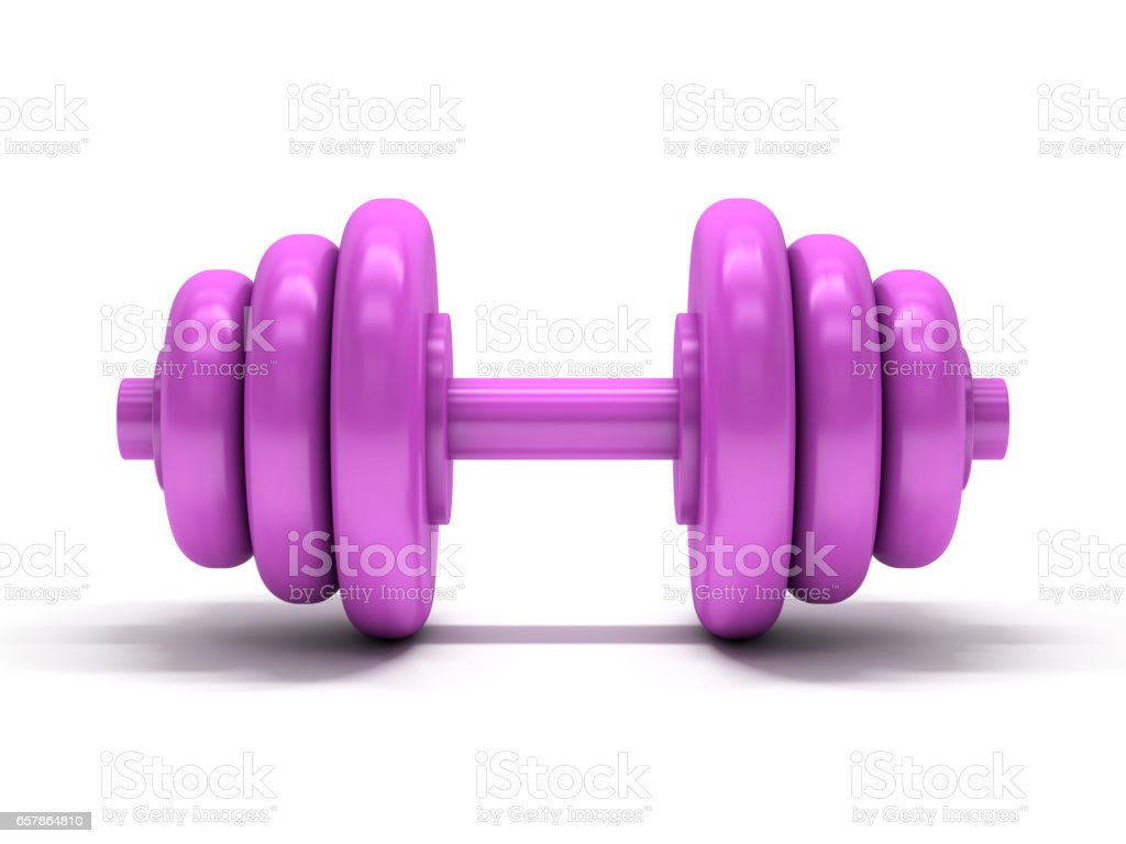 Pink dumbbell over white background. 3D rendering stock photo