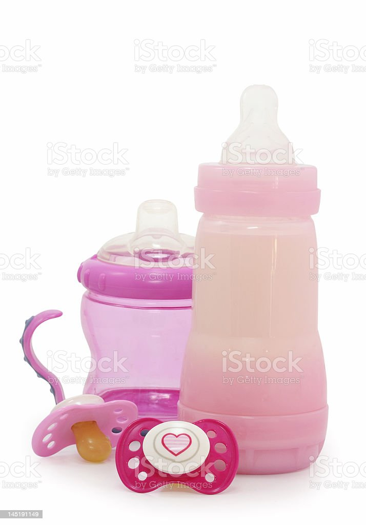 pink dummies and bottles royalty-free stock photo