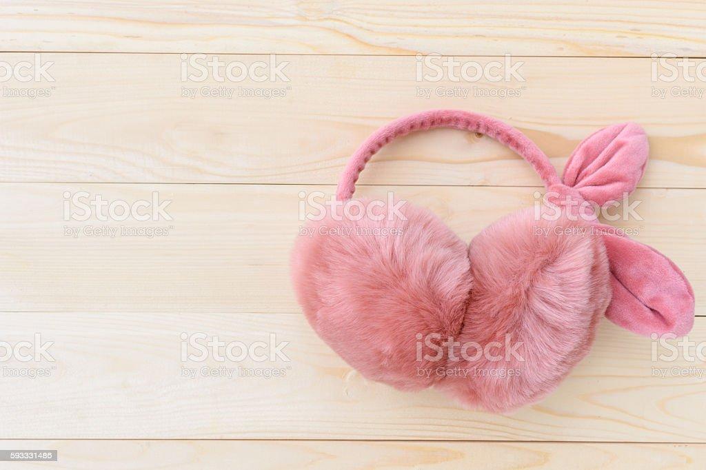 pink earmuffs stock photo
