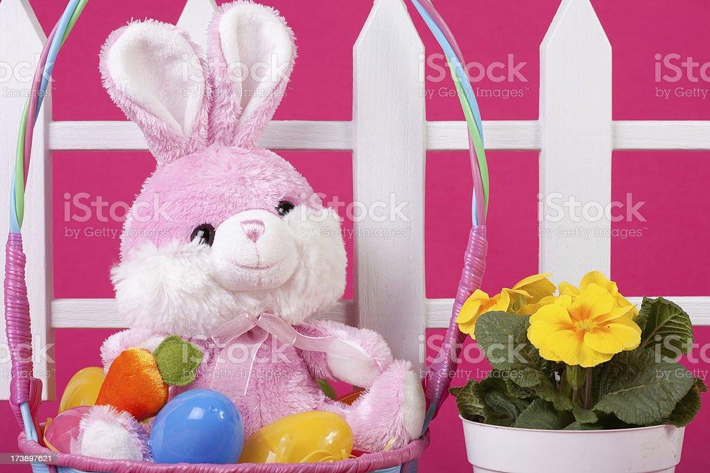 Pink Easter Basket Scene stock photo