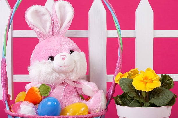 pink easter basket scene - spring stock photos and pictures