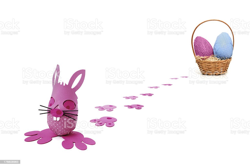Pink Easter bunny egg delivery stock photo
