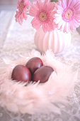 Pink Easter Composition with Naturally Colored Eggs