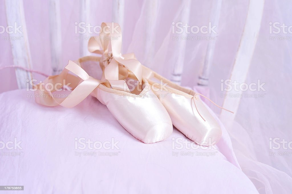 Pink elegant ballet shoes royalty-free stock photo