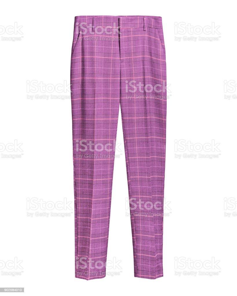 Pink elegant checked retro trousers isolated white royalty-free stock photo
