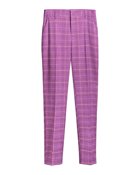 Pink elegant checked retro trousers isolated white stock photo
