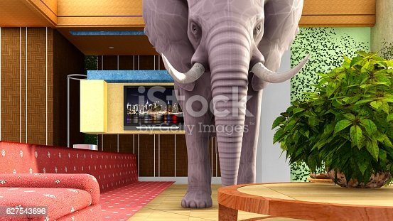 istock Pink elephant in the living room 3d rendering 627543696