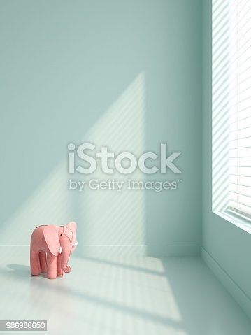 istock Pink elephants in empty interior 3D illustration 986986650