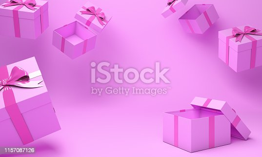 istock Pink empty gift box on studio lighting. 3D rendering illustration. 1157087126