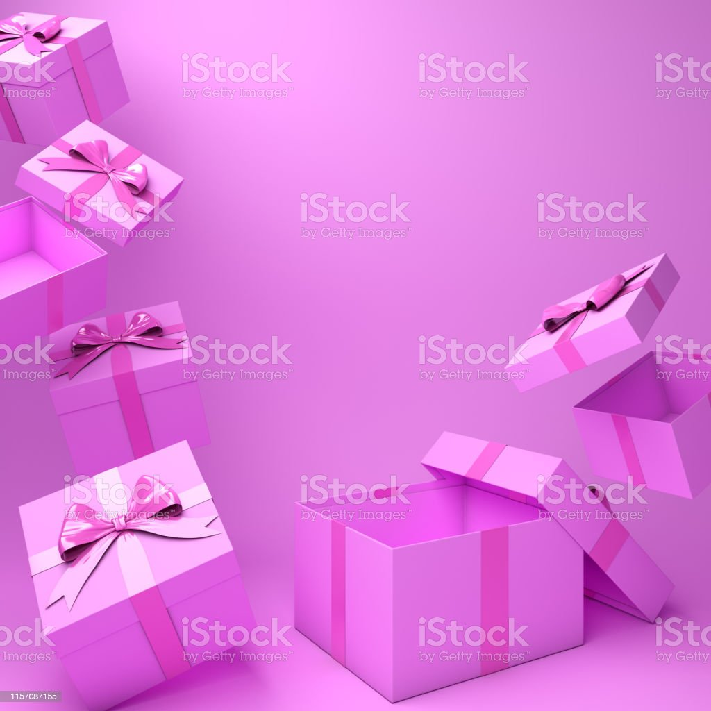 Pink empty gift box on studio lighting. 3D rendering illustration.