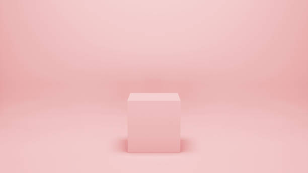 pink empty room with geometric shape stand, empty walls, 3d  illustration. minimalist blank scene with square, modern graphic design mockup concept. merchandise stand concept. - cube shape stock pictures, royalty-free photos & images