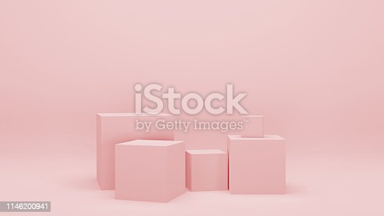 Minimalist blank scene with squares, modern graphic design. Pink empty room with geometric shapes, stands and empty walls, realistic 3d illustration.