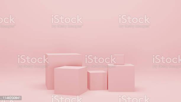 Pink empty room with geometric shapes stands and empty walls 3d picture id1146200941?b=1&k=6&m=1146200941&s=612x612&h=jq3stoypeq9xtq9telaizipi3wdnm1ibar7muoqaaeg=