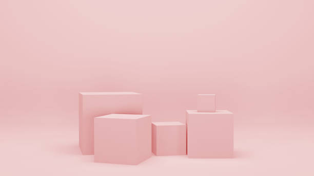 pink empty room with geometric shapes, stands and empty walls, realistic 3d illustration. minimalist blank scene with squares, modern graphic design. - composition stock pictures, royalty-free photos & images