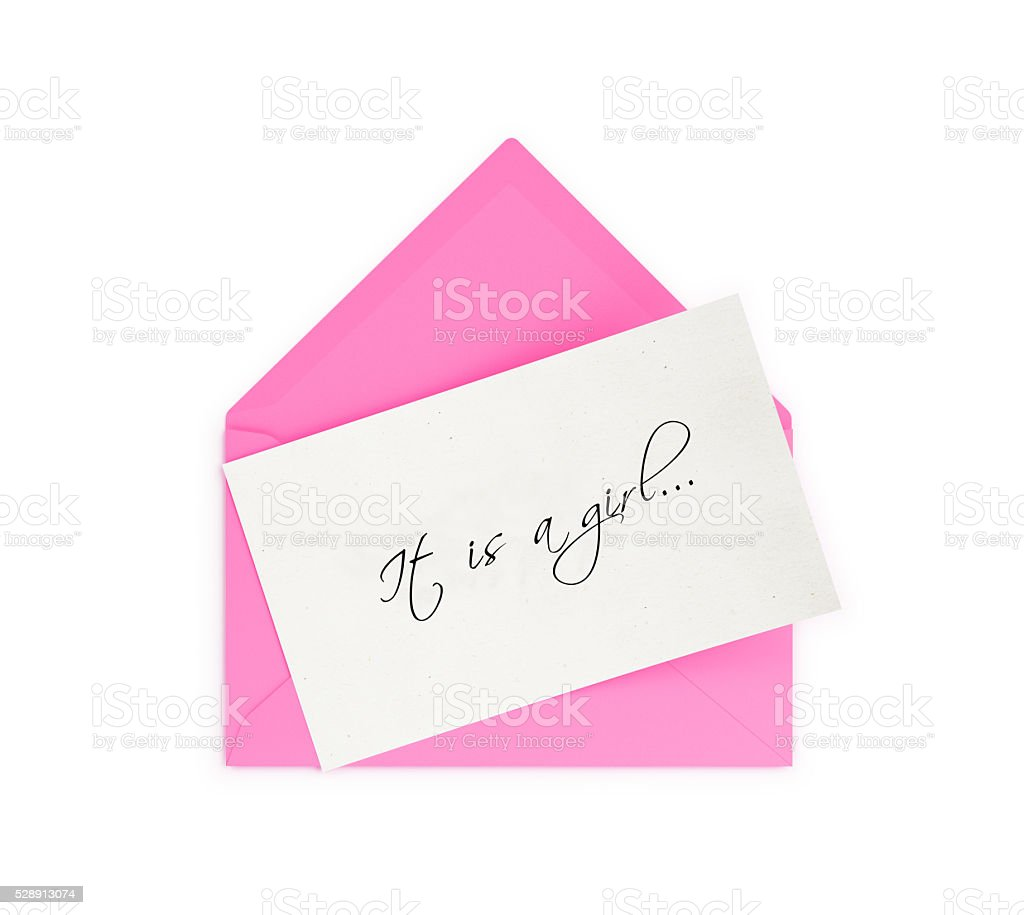Pink Envelope and It is a girl Note stock photo