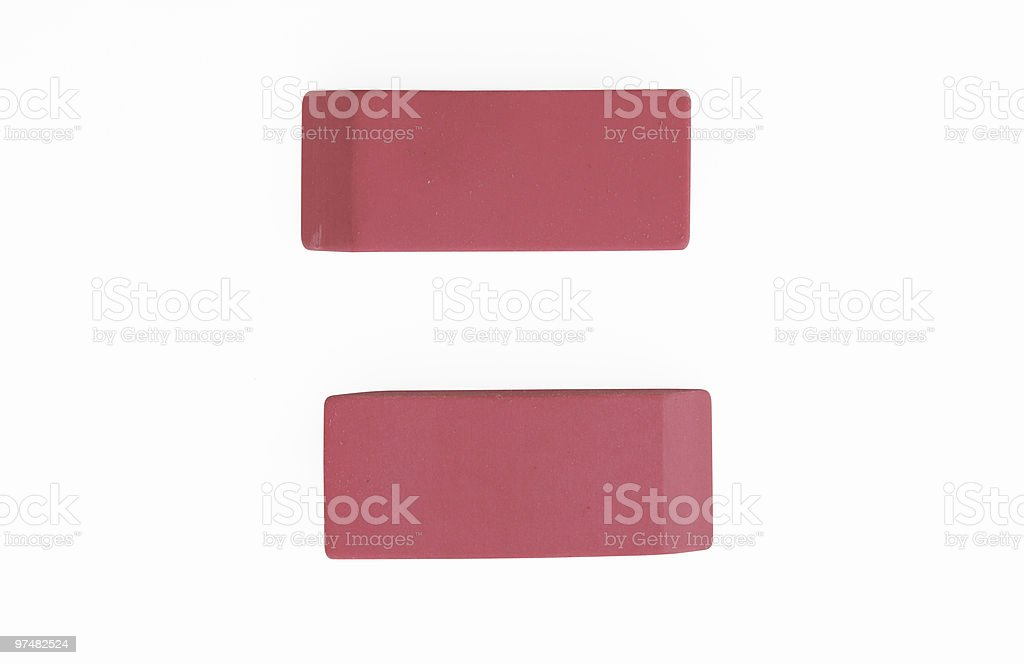 Pink Erasers Office Supplies on White with Clipping Path royalty-free stock photo