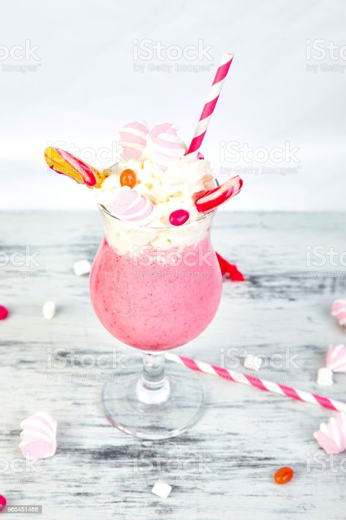 Pink Extreme milkshake with berry rasberry royalty-free stock photo