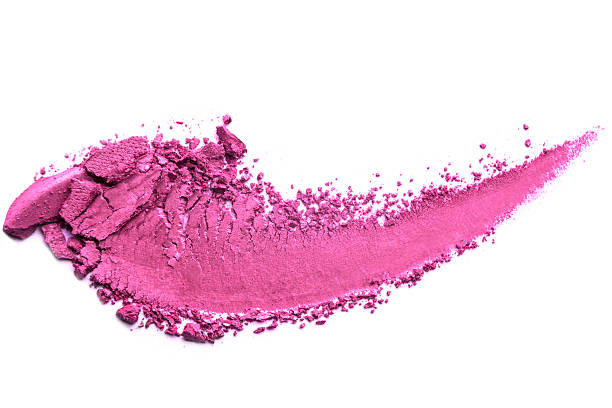 pink eye shadow crushed cosmetic isolated - lila augen make up stock-fotos und bilder