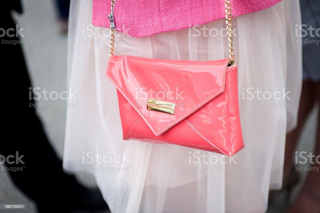 Pink female purse stock photo