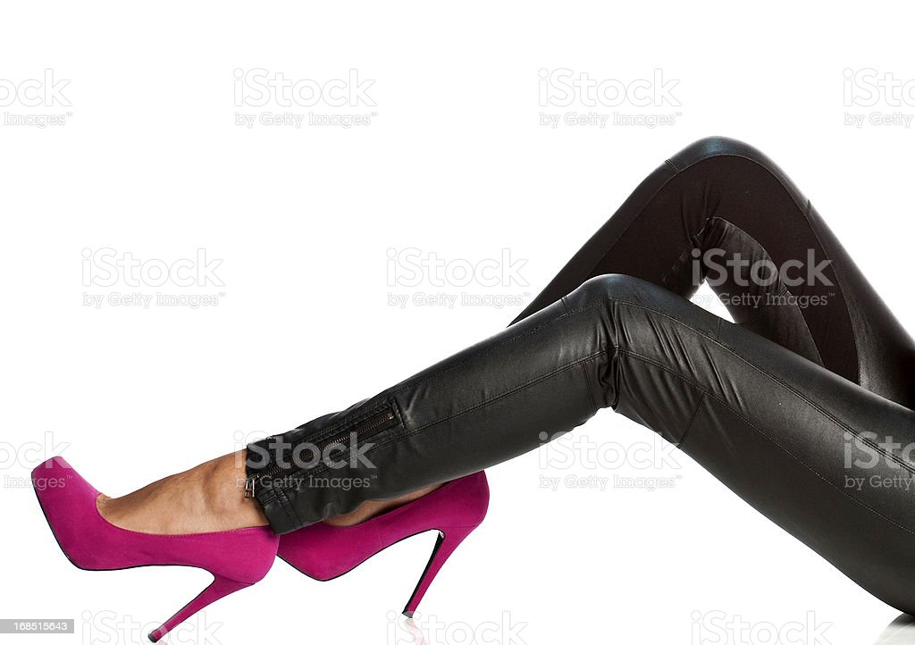 Pink female shoes stock photo
