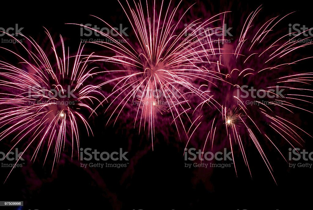 Pink fireworks at night royalty-free stock photo