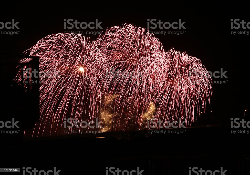 Pink Fireworks over Vancouver, British Columbia, Canada royalty-free stock photo