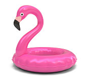 flamingo, pink, 3d, rendering, isolated, white background