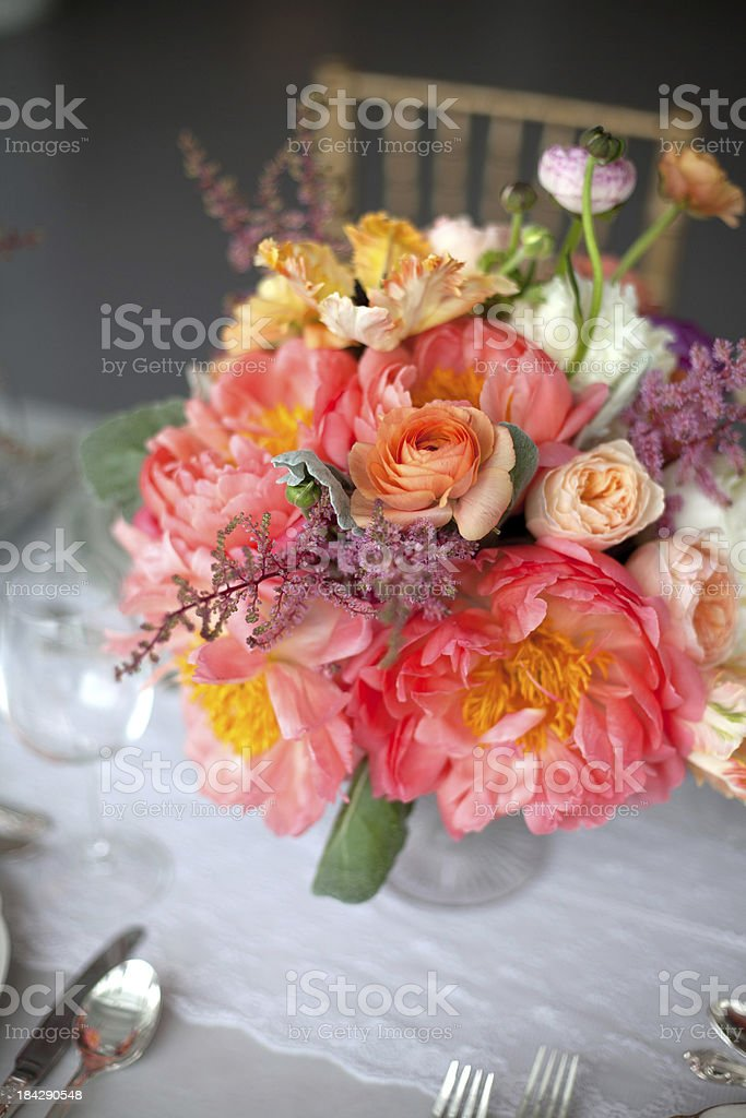 Pink floral table centerpiece stock photo