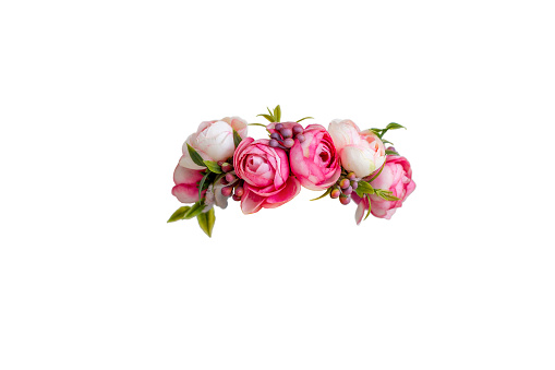 pink flower wreath of artificial roses isolated on white background. Copy space
